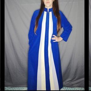 Vintage 70's blue velour hostess gown